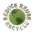 Green plant globe and reduce-reuse-recycle concept