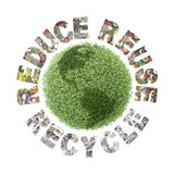 Green plant globe and reduce-reuse-recycle concept poster
