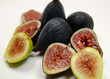 a mixed bunch of organic black mission and adriatic figs.