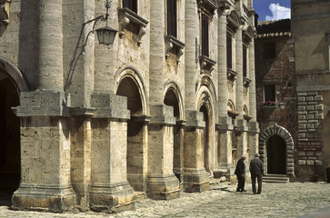 Two old Italalian men talking to each other in Montepulciano