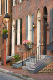 Charming brick rowhouses in Philadelphia, PA.