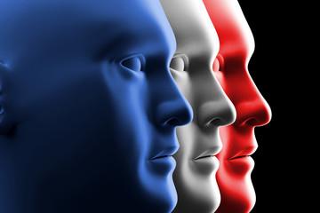 Bandiera francese - Profili d'uomo