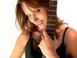 jeune femme sexy avec une guitare