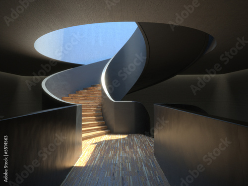 A minimalist spiral staircase with symbolic meaning