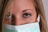Blond with surgical mask on poster