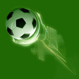 soccer ball flying and spinning in lightning speed poster