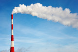 Air polluting smokestack against blue sky poster