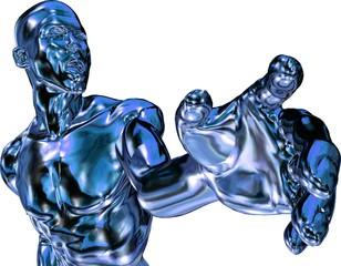 Blau metallic Mann zeigt mit der Hand