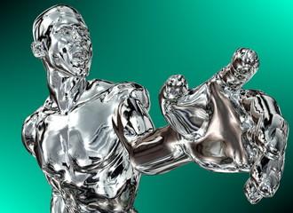 Silber-Mann zeigt auf etwas mit der Hand (grüner Hintergrund)
