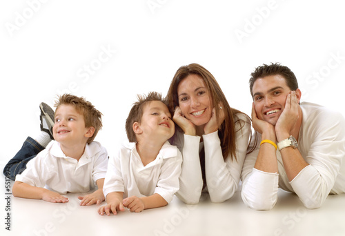 Casual portrait of a healthy, attractive young family Poster