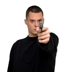 man with a gun studio isolated