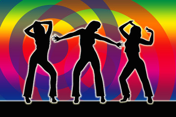 Dancing Girls Silhouette 70er