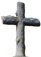 Isolated stony christian cross styled as mature wooden logs