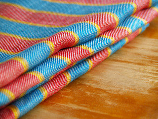 striped linen textile material..