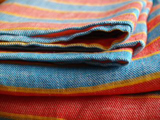 stripy colored linen bedding