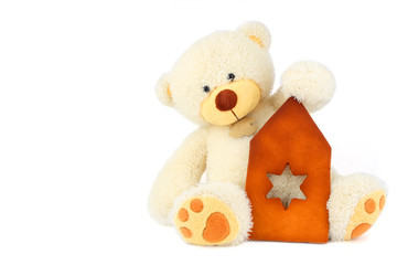 fluffy white teddy bear and part of gingerbread hause
