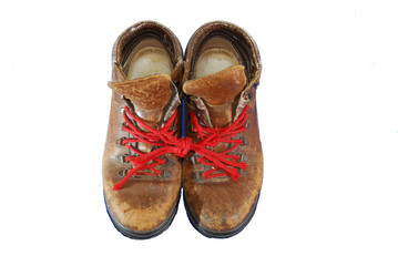 a pair well worn out walking shoes