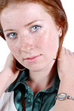 Portrait of the girl with freckles and red hair poster