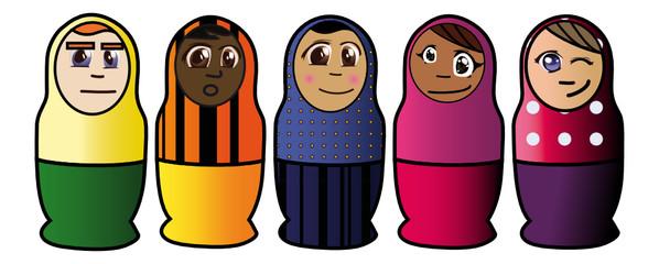 Poupées russes - les enfants alignés