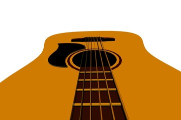 3d render illustration of isolated acoustic guitar