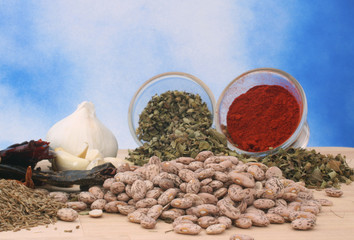 Garlic and Other Spices on Blue Textured Background