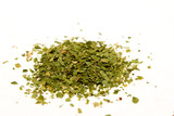 Dried, crushed parsley flakes isolated on white. poster