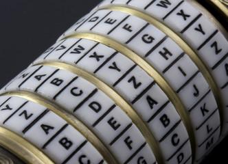 secret password - combination puzzle box, rings of letters