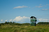 Birdwatchers wooden tower in abandoned meadow,poland poster