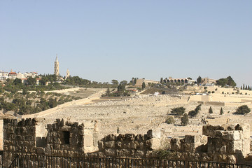 Jerusalem Israel - photo of Mount of Olives on a bright day
