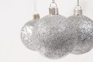 Silver Glitter Christmas Ornaments