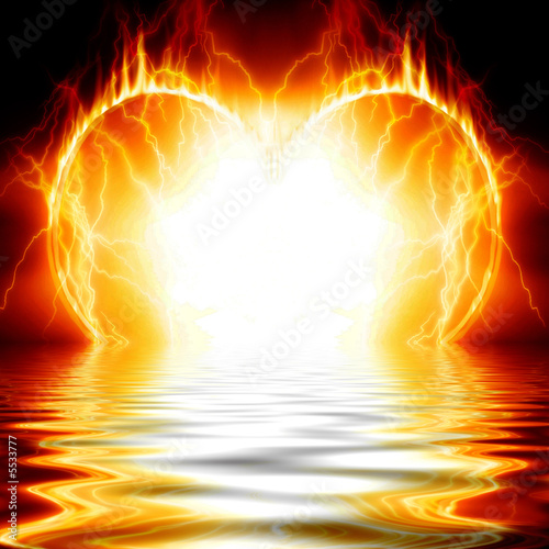 Heart on fire reflected in water
