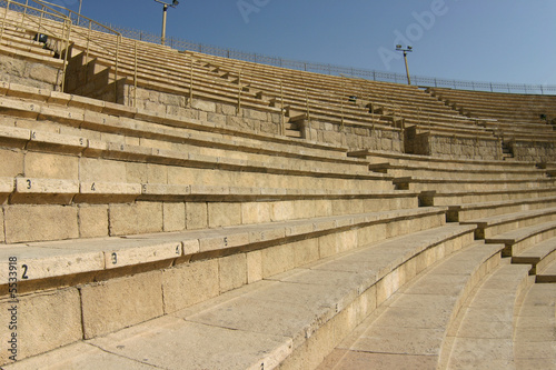 Sits of the ancient Roman theater in Caesarea, Israel