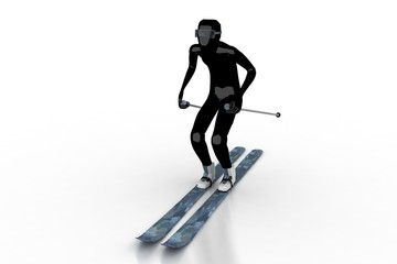 skier on white background