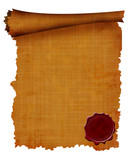 Old scroll with wax seal poster