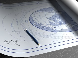 Architectural plans for the planet earth.