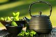 Leinwandbild Motiv Black iron asian teapot with sprigs of mint for tea