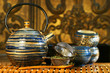 Blue oriental teapot with cups  ready for calming tea