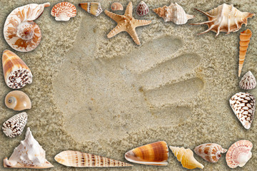 A handprint on the sand