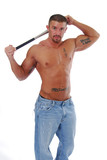 A shirtless muscular man with a bat behind his head poster