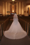 bride white dress train in church poster