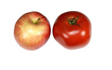 red tomato and apple on white background
