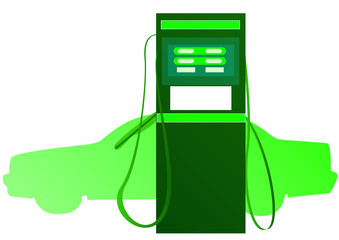 green car and petrol pump