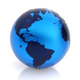 3D globe made of translucent plastic and transparent acrylic poster