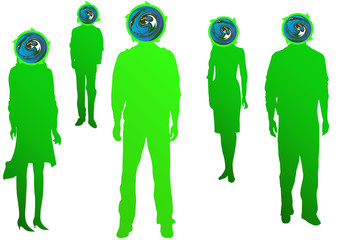 green people with earth heads