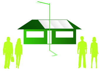 house with solar panels and two couples