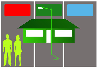 couple and home with recycling bins