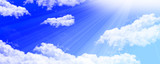 Clouds with bright sunlight shining poster