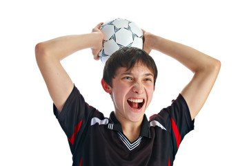 emotional soccer player with ball isolated on white background