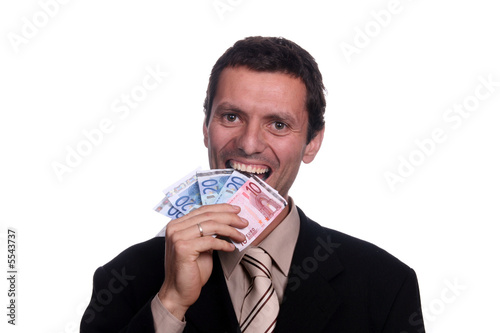 crazy businessman eating money