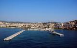 City and harbor at Kusadasi,  on the turkish coast  poster